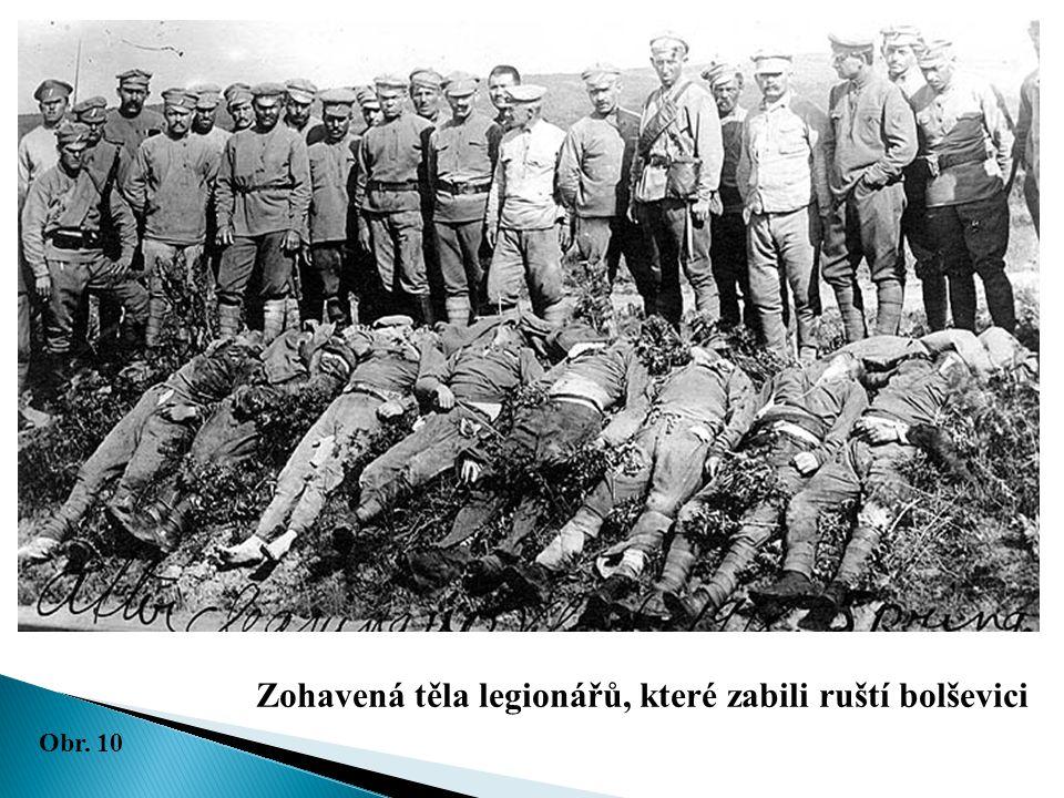 Zohavená těla legionářů, které zabili ruští bolševici