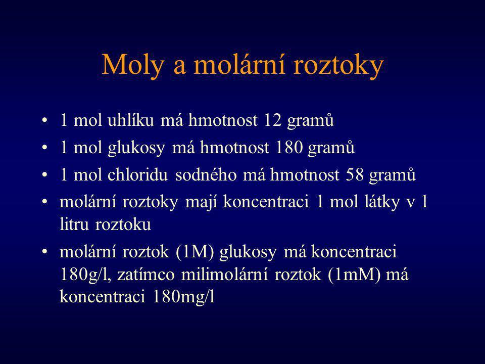 Moly a molární roztoky 1 mol uhlíku má hmotnost 12 gramů