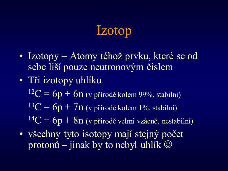 Izotop Izotopy = Atomy téhož prvku, které se od sebe liší pouze neutronovým číslem. Tři izotopy uhlíku.