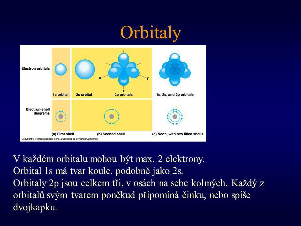 Orbitaly V každém orbitalu mohou být max. 2 elektrony.