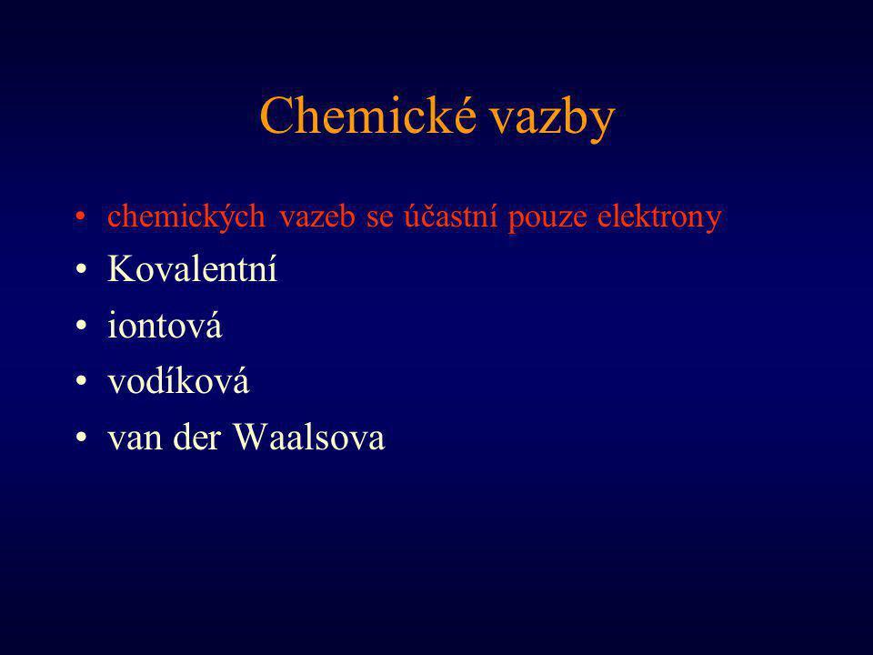 Chemické vazby Kovalentní iontová vodíková van der Waalsova