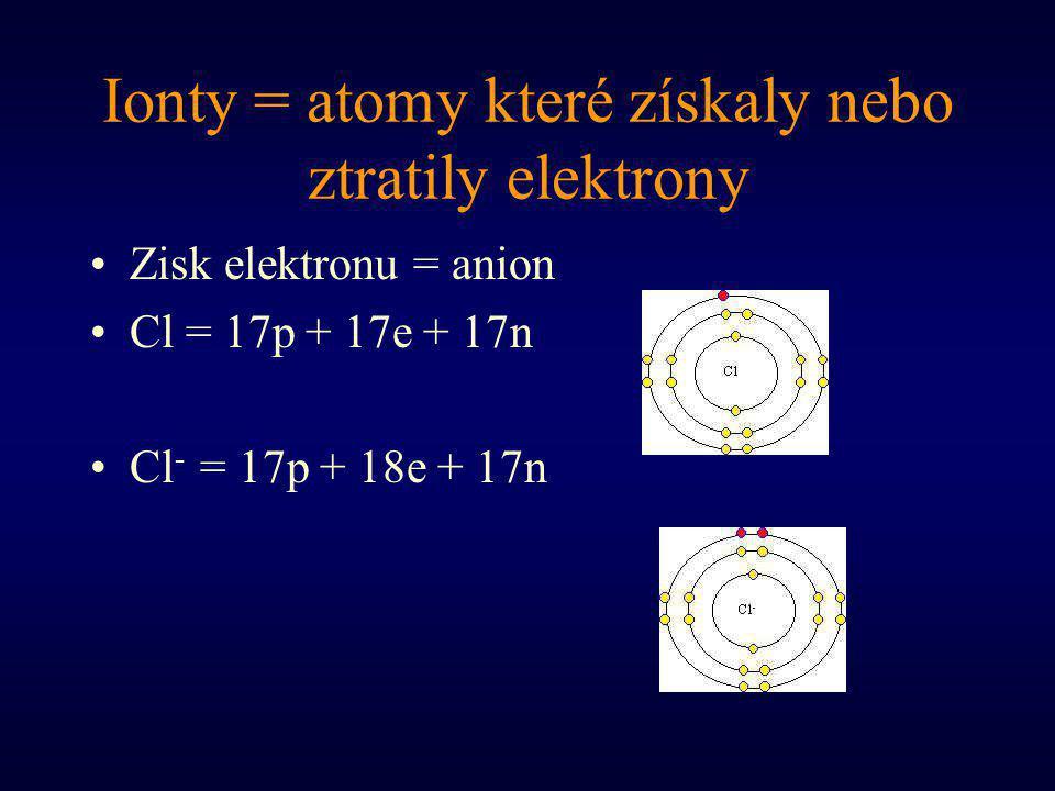 Ionty = atomy které získaly nebo ztratily elektrony