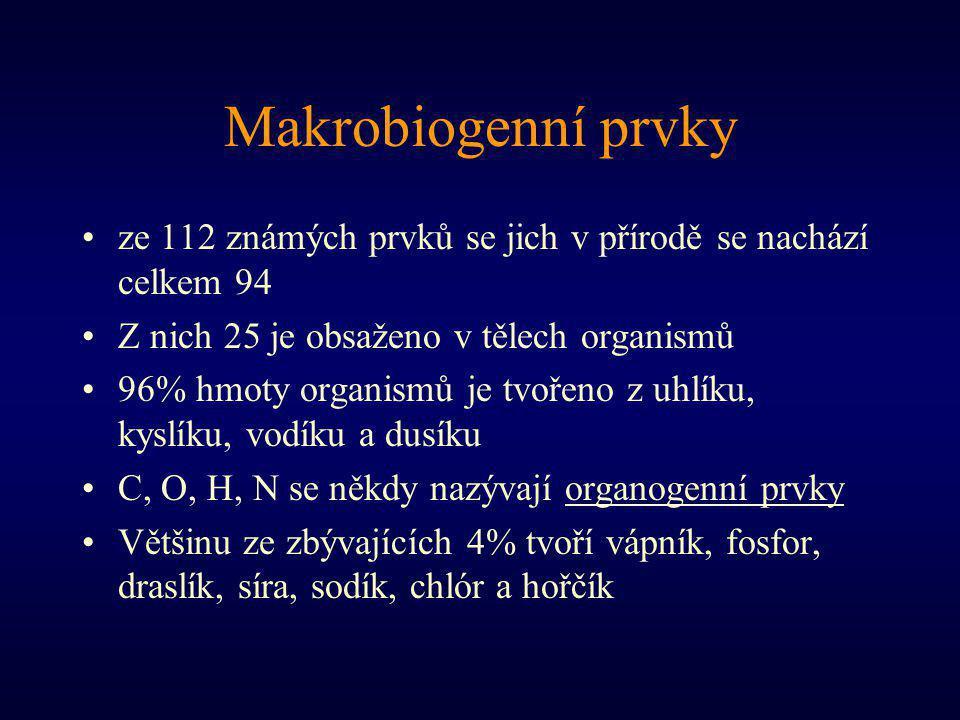 Makrobiogenní prvky ze 112 známých prvků se jich v přírodě se nachází celkem 94. Z nich 25 je obsaženo v tělech organismů.