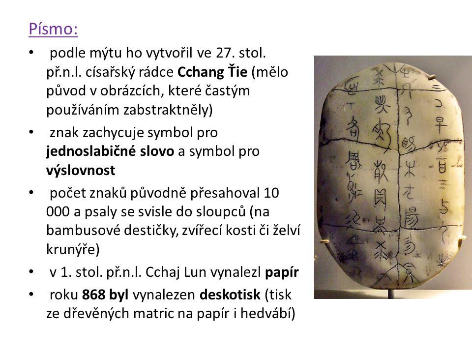 Písmo: podle mýtu ho vytvořil ve 27. stol. př.n.l. císařský rádce Cchang Ťie (mělo původ v obrázcích, které častým používáním zabstraktněly)
