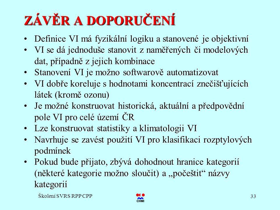 ZÁVĚR A DOPORUČENÍ Definice VI má fyzikální logiku a stanovené je objektivní.