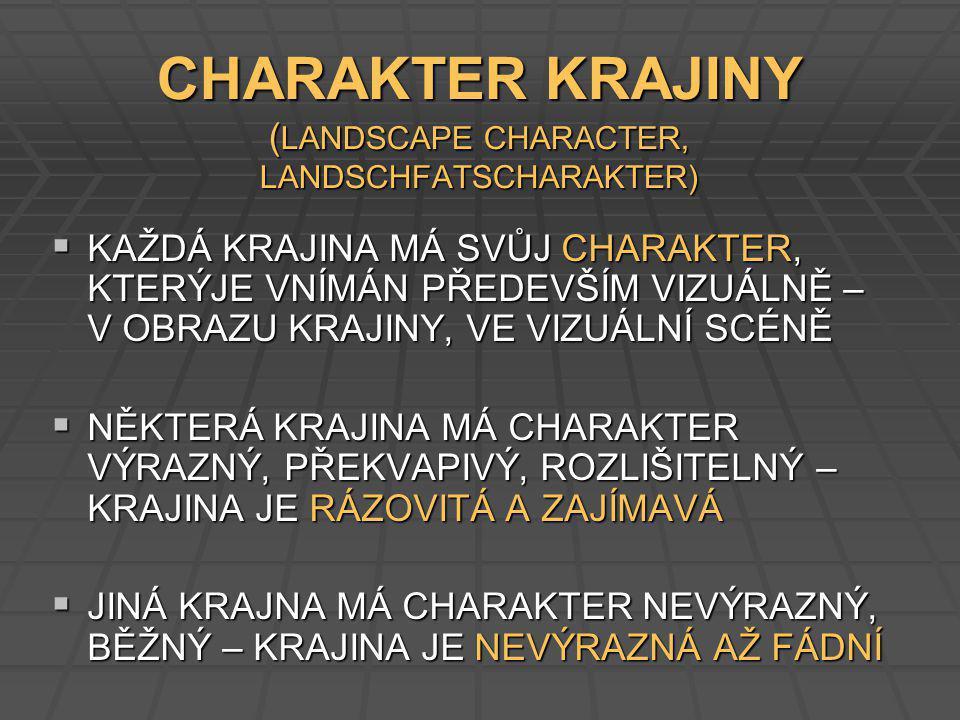 CHARAKTER KRAJINY (LANDSCAPE CHARACTER, LANDSCHFATSCHARAKTER)