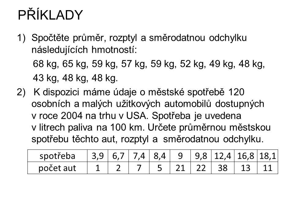 PŘÍKLADY Spočtěte průměr, rozptyl a směrodatnou odchylku následujících hmotností: 68 kg, 65 kg, 59 kg, 57 kg, 59 kg, 52 kg, 49 kg, 48 kg,
