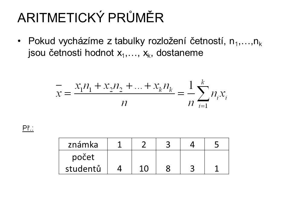 ARITMETICKÝ PRŮMĚR Pokud vycházíme z tabulky rozložení četností, n1,…,nk jsou četnosti hodnot x1,…, xk, dostaneme.