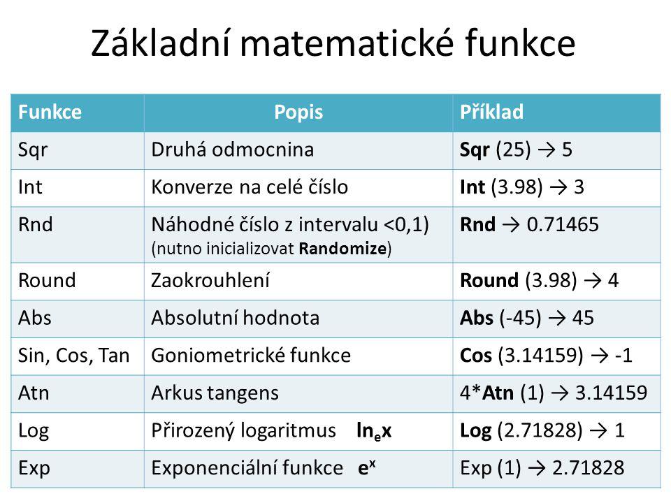 Základní matematické funkce