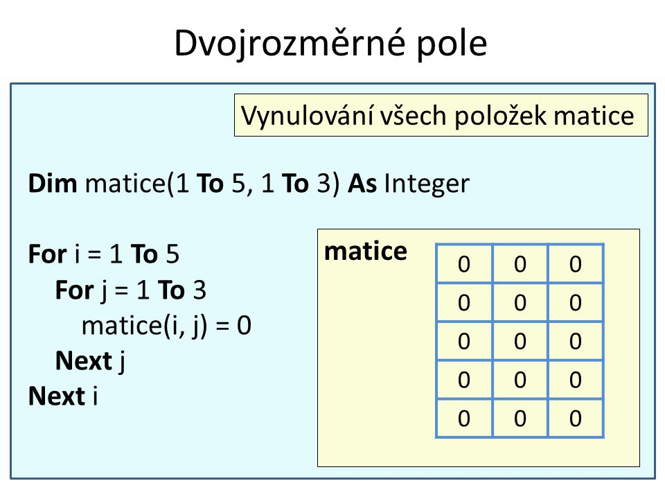 Dvojrozměrné pole Vynulování všech položek matice