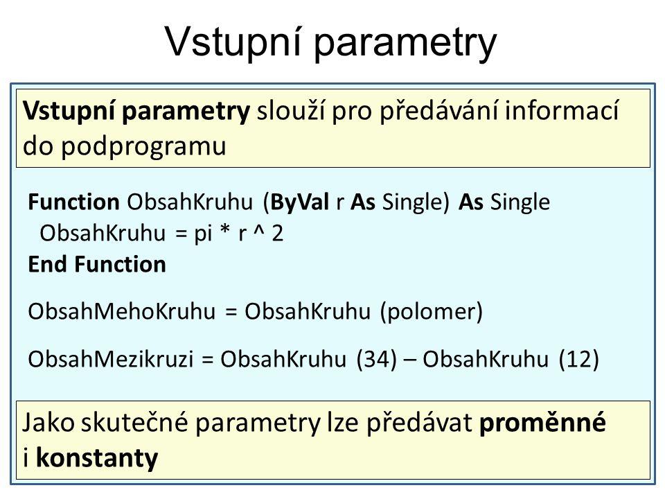 Vstupní parametry Vstupní parametry slouží pro předávání informací do podprogramu. Function ObsahKruhu (ByVal r As Single) As Single.
