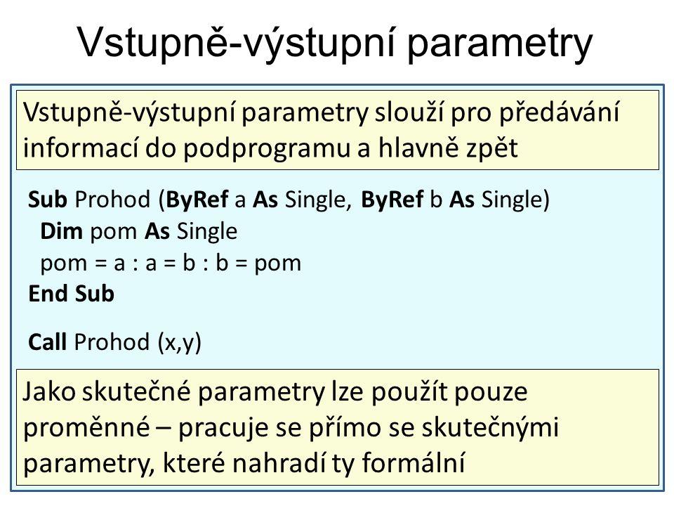 Vstupně-výstupní parametry