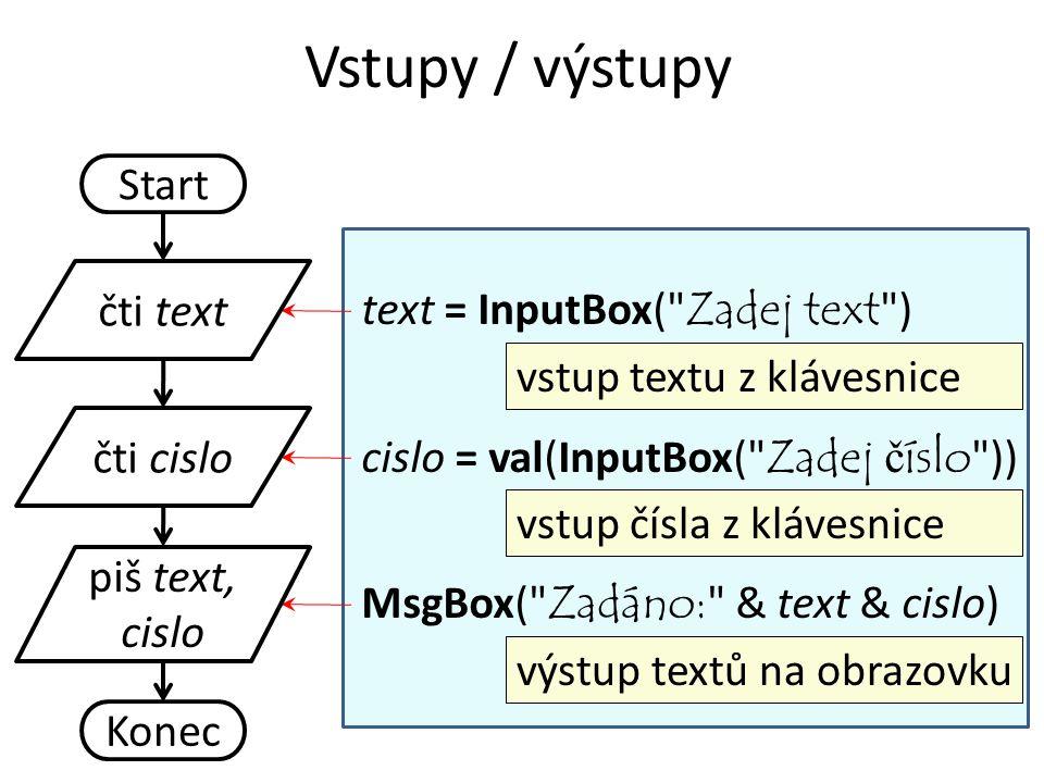 Vstupy / výstupy Start čti text text = InputBox( Zadej text )