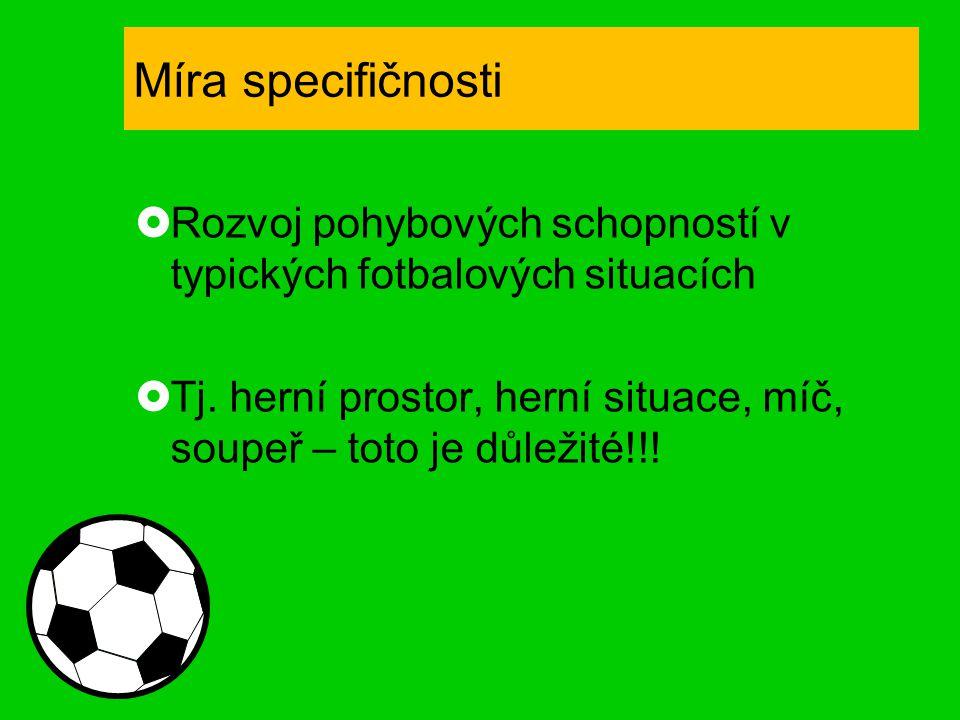 Míra specifičnosti Rozvoj pohybových schopností v typických fotbalových situacích.