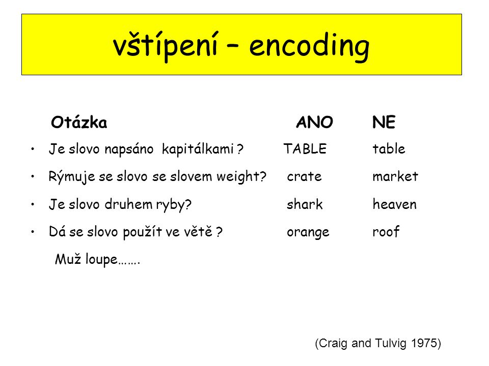vštípení – encoding Otázka ANO NE
