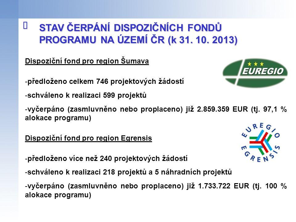 STAV ČERPÁNÍ DISPOZIČNÍCH FONDŮ PROGRAMU NA ÚZEMÍ ČR (k 31. 10. 2013)