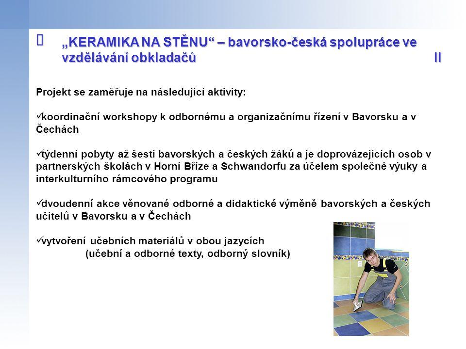 """î """"KERAMIKA NA STĚNU – bavorsko-česká spolupráce ve vzdělávání obkladačů II. Projekt se zaměřuje na následující aktivity:"""