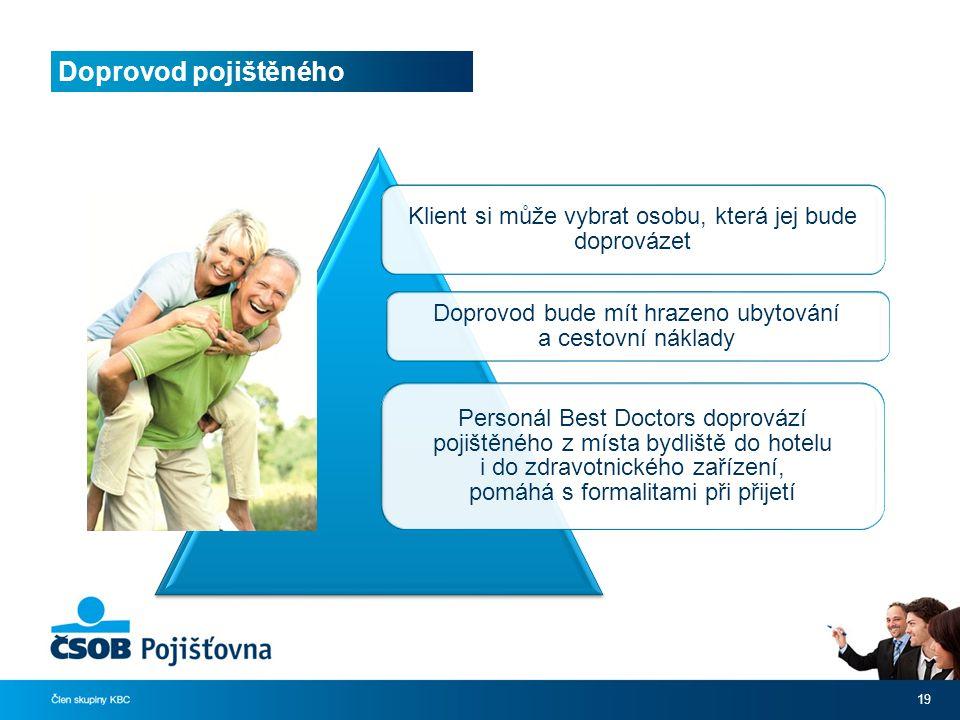 Doprovod pojištěného Klient si může vybrat osobu, která jej bude doprovázet. Doprovod bude mít hrazeno ubytování a cestovní náklady.