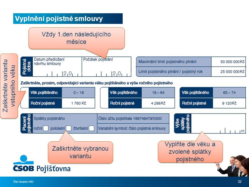 Vyplnění pojistné smlouvy