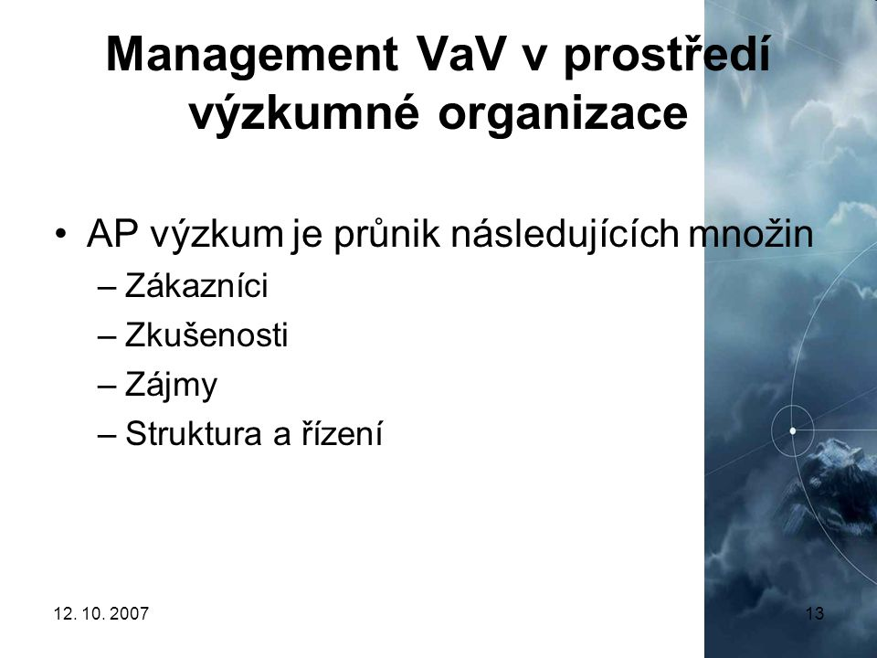 Management VaV v prostředí výzkumné organizace