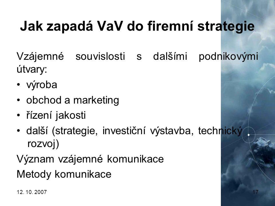 Jak zapadá VaV do firemní strategie