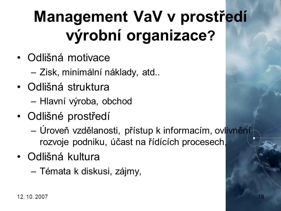 Management VaV v prostředí výrobní organizace