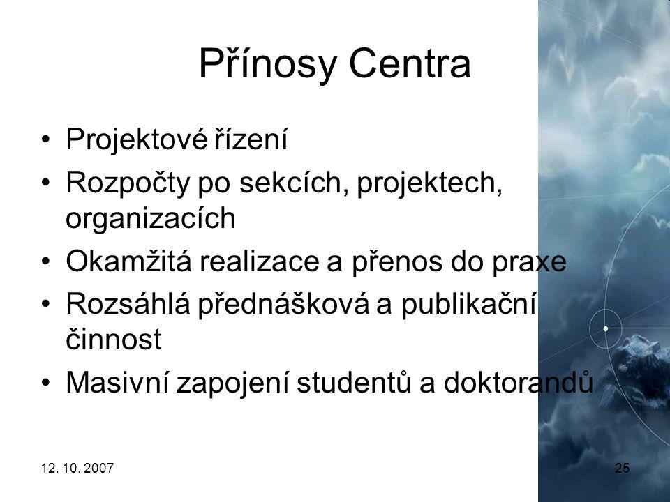 Přínosy Centra Projektové řízení