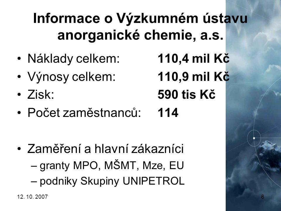 Informace o Výzkumném ústavu anorganické chemie, a.s.