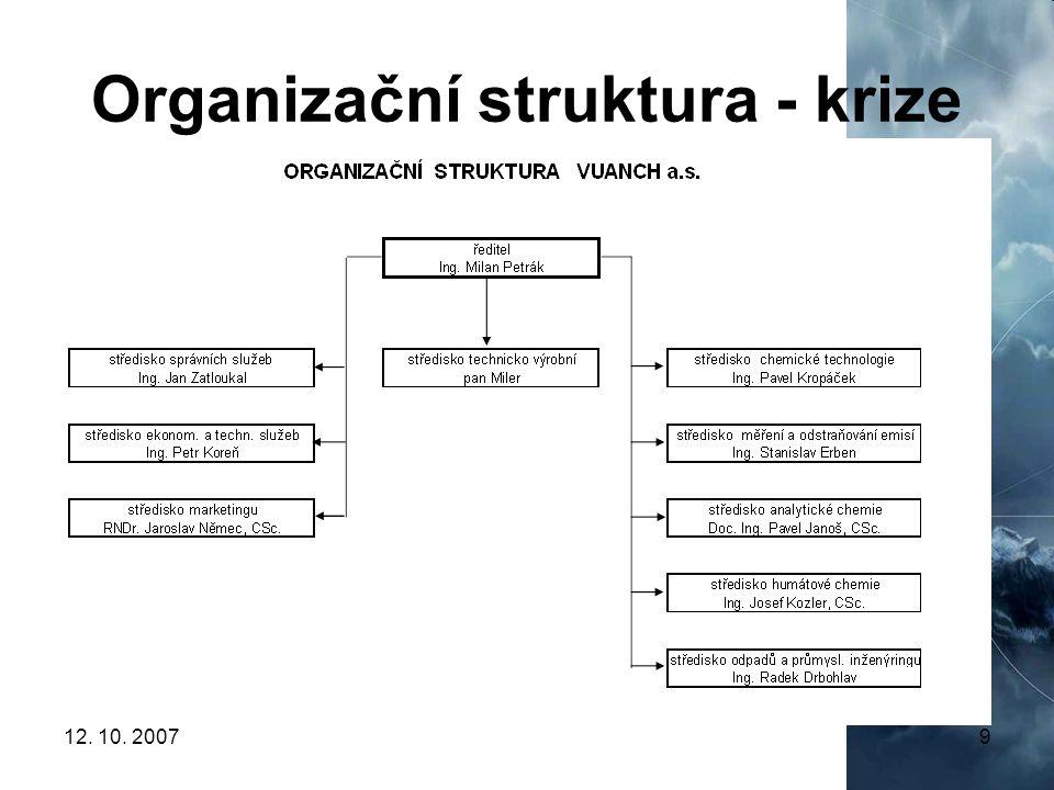 Organizační struktura - krize
