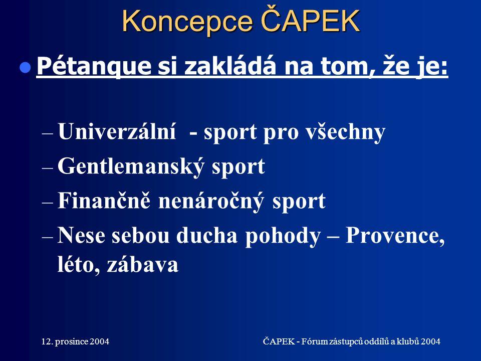 Koncepce ČAPEK Pétanque si zakládá na tom, že je: