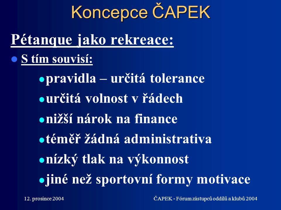 Koncepce ČAPEK Pétanque jako rekreace: pravidla – určitá tolerance