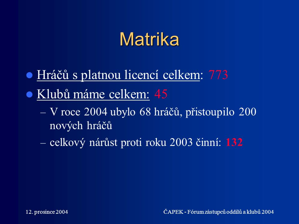 Matrika Hráčů s platnou licencí celkem: 773 Klubů máme celkem: 45