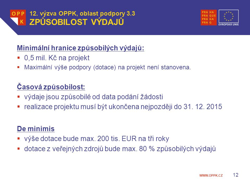 12. výzva OPPK, oblast podpory 3.3 ZPŮSOBILOST VÝDAJŮ