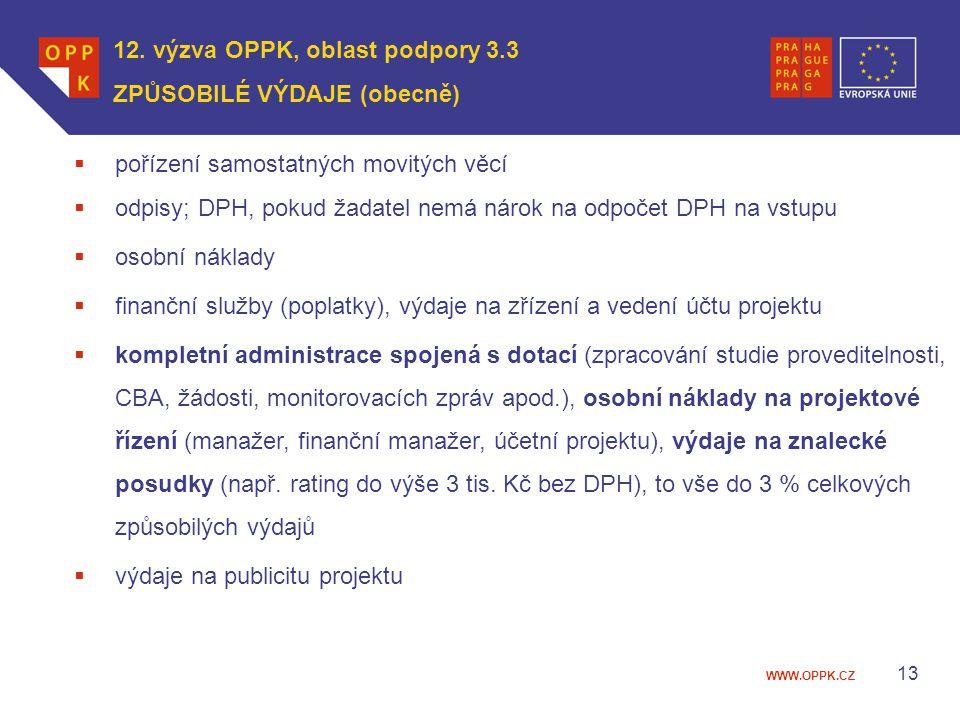 12. výzva OPPK, oblast podpory 3.3 ZPŮSOBILÉ VÝDAJE (obecně)