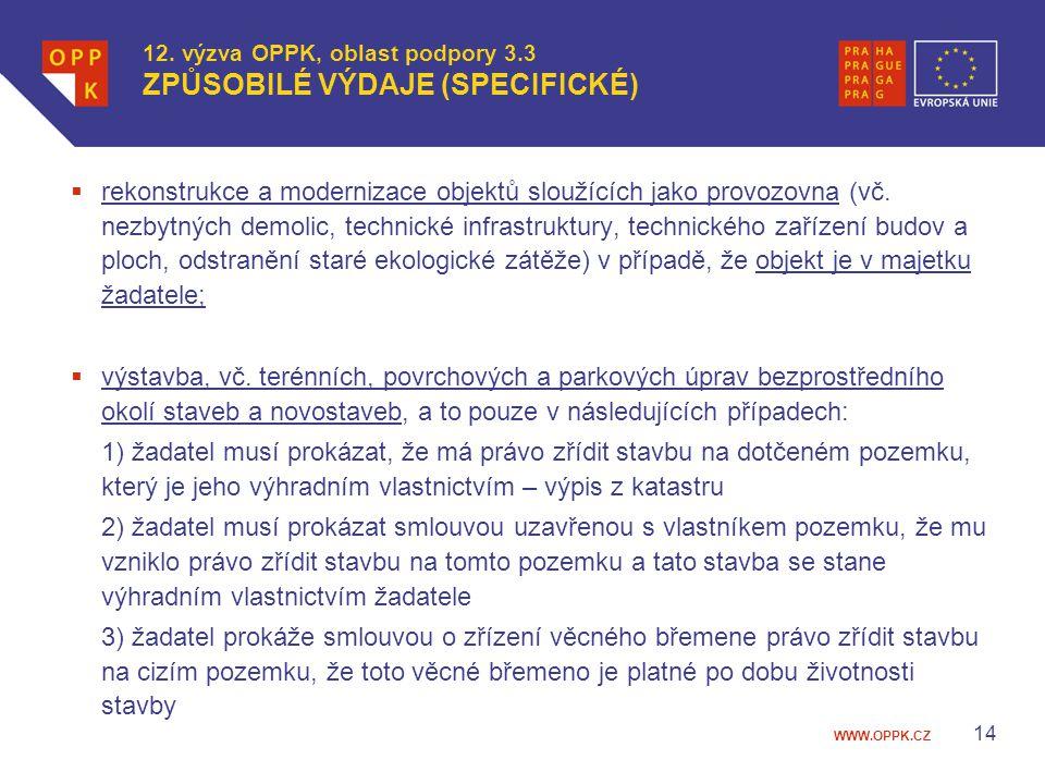 12. výzva OPPK, oblast podpory 3.3 ZPŮSOBILÉ VÝDAJE (SPECIFICKÉ)