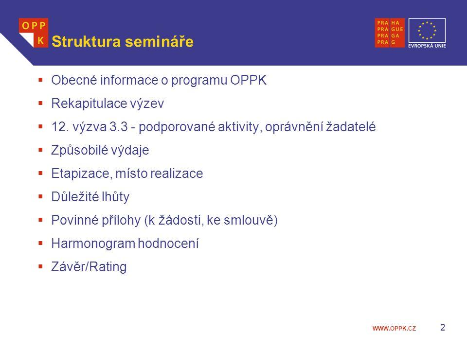 Struktura semináře Obecné informace o programu OPPK Rekapitulace výzev