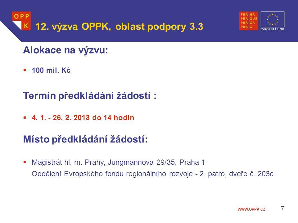 12. výzva OPPK, oblast podpory 3.3