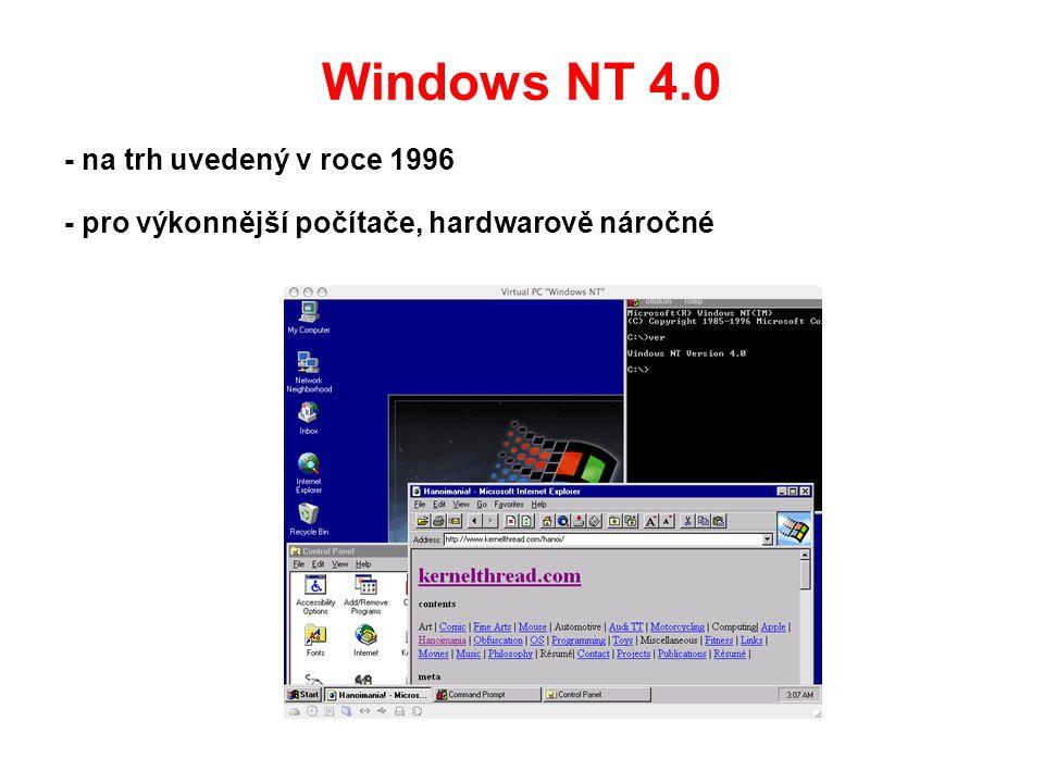 Windows NT 4.0 - na trh uvedený v roce 1996