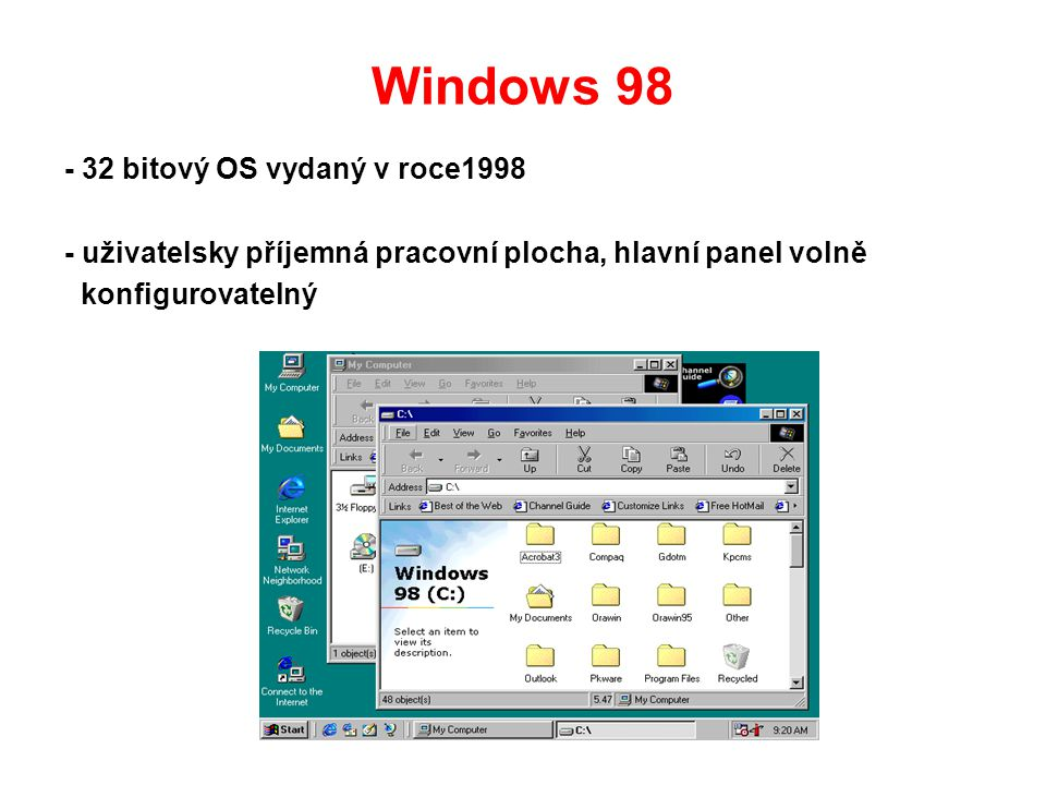 Windows 98 - 32 bitový OS vydaný v roce1998