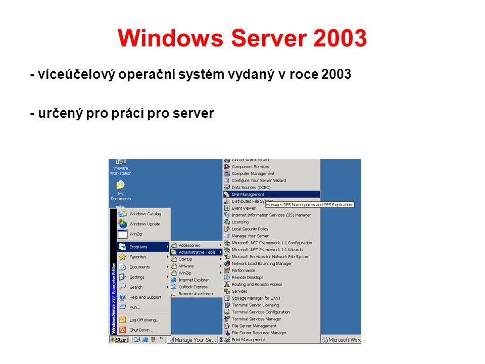Windows Server 2003 - víceúčelový operační systém vydaný v roce 2003