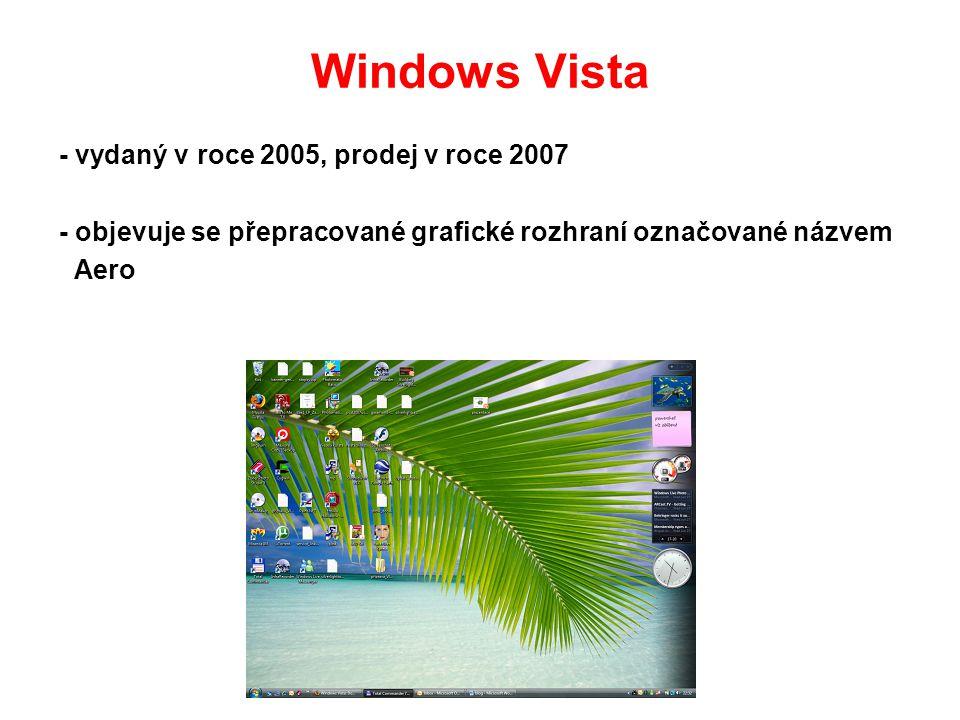 Windows Vista - vydaný v roce 2005, prodej v roce 2007
