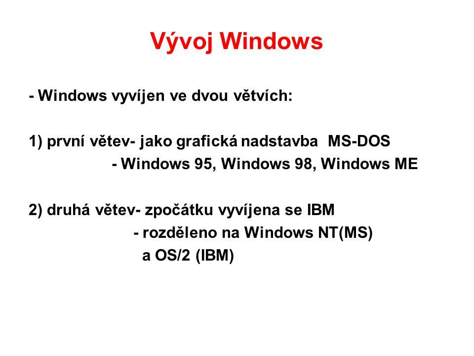 Vývoj Windows - Windows vyvíjen ve dvou větvích: