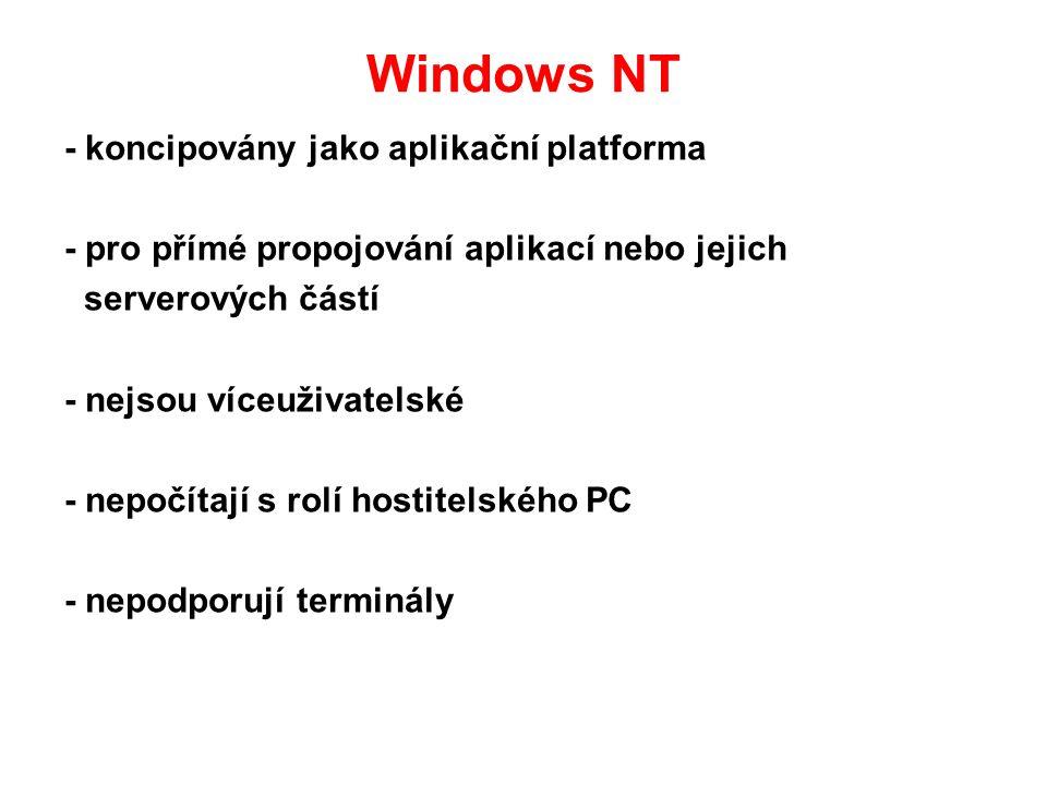 Windows NT - koncipovány jako aplikační platforma
