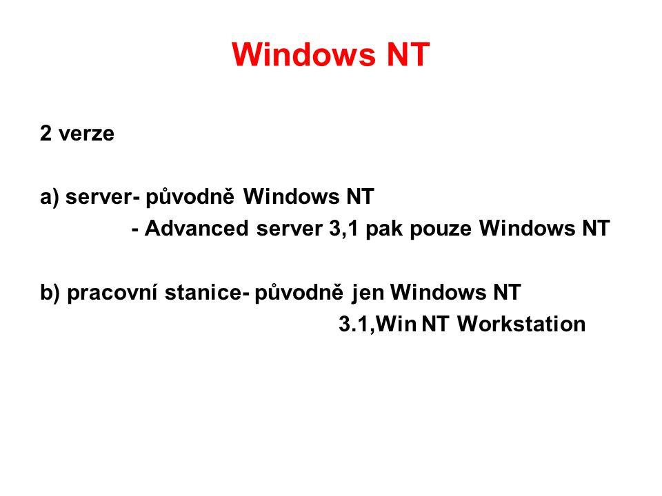 Windows NT 2 verze a) server- původně Windows NT