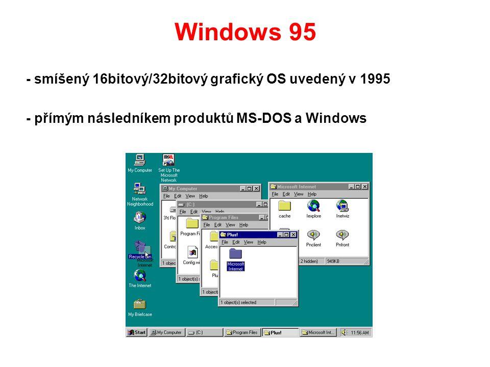 Windows 95 - smíšený 16bitový/32bitový grafický OS uvedený v 1995