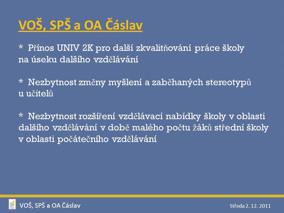 VOŠ, SPŠ a OA Čáslav * Přínos UNIV 2K pro další zkvalitňování práce školy. na úseku dalšího vzdělávání.