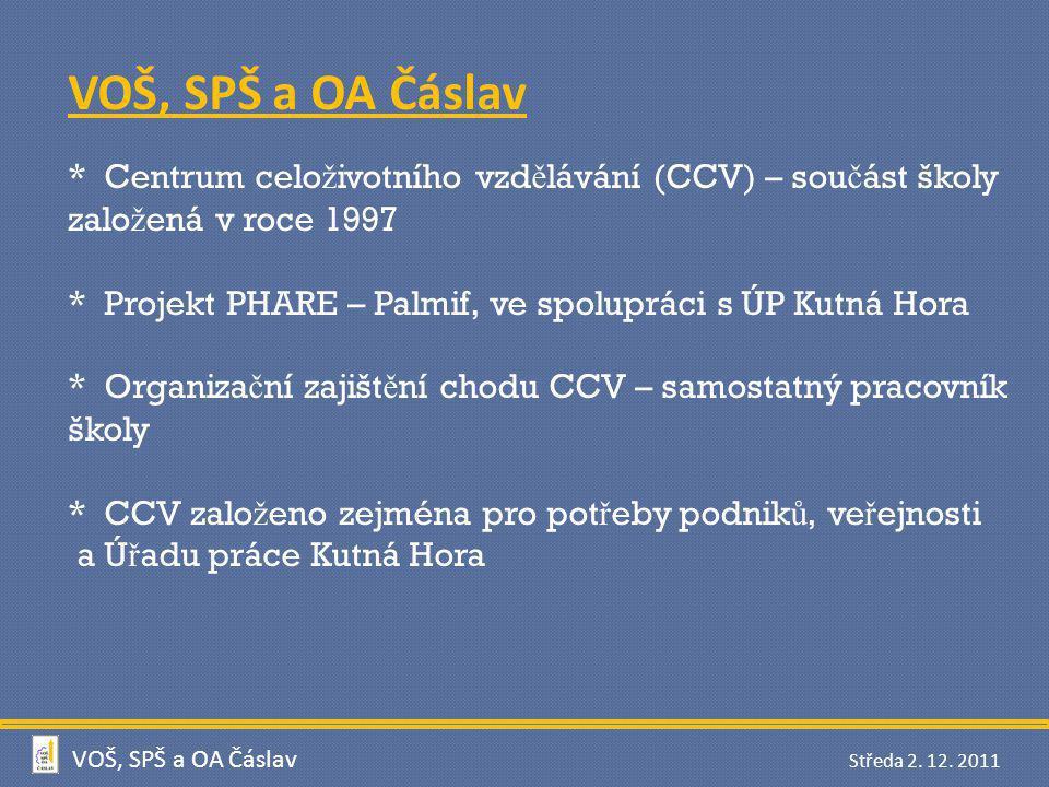 VOŠ, SPŠ a OA Čáslav * Centrum celoživotního vzdělávání (CCV) – součást školy založená v roce 1997.