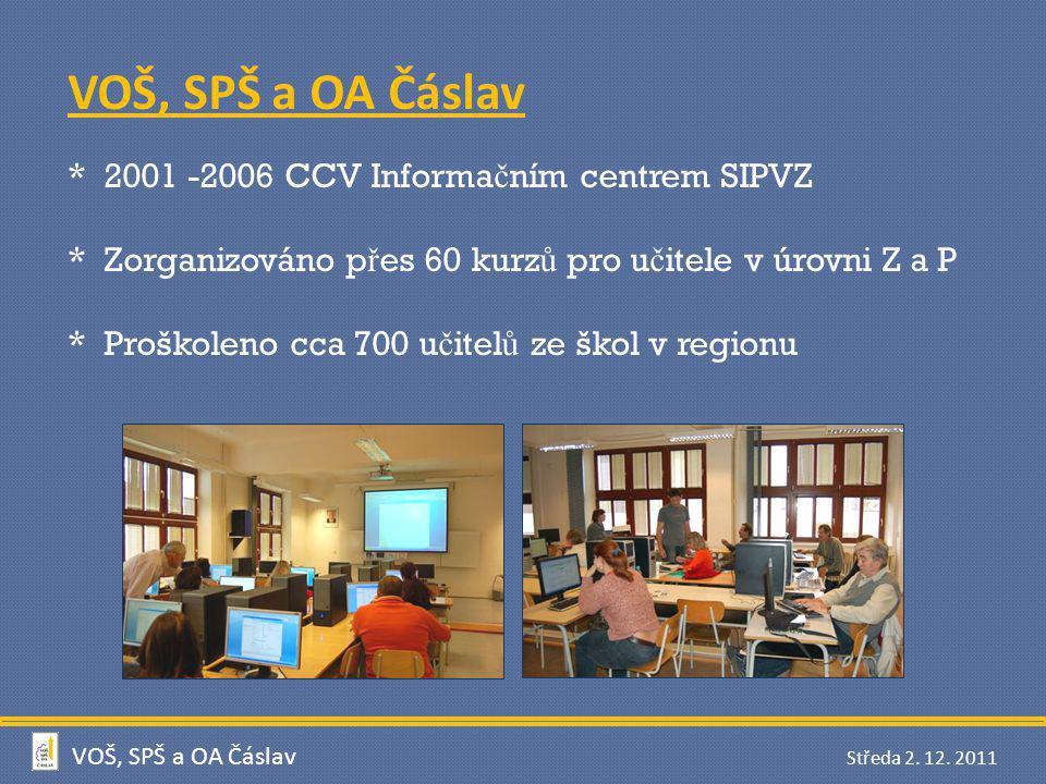 VOŠ, SPŠ a OA Čáslav * 2001 -2006 CCV Informačním centrem SIPVZ