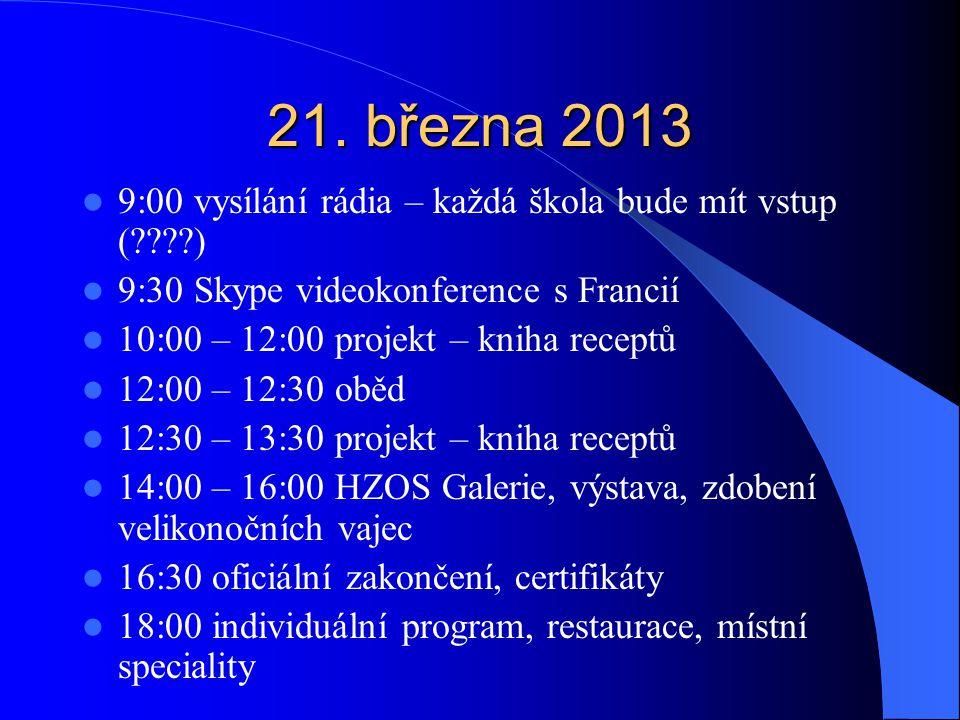 21. března 2013 9:00 vysílání rádia – každá škola bude mít vstup ( ) 9:30 Skype videokonference s Francií.