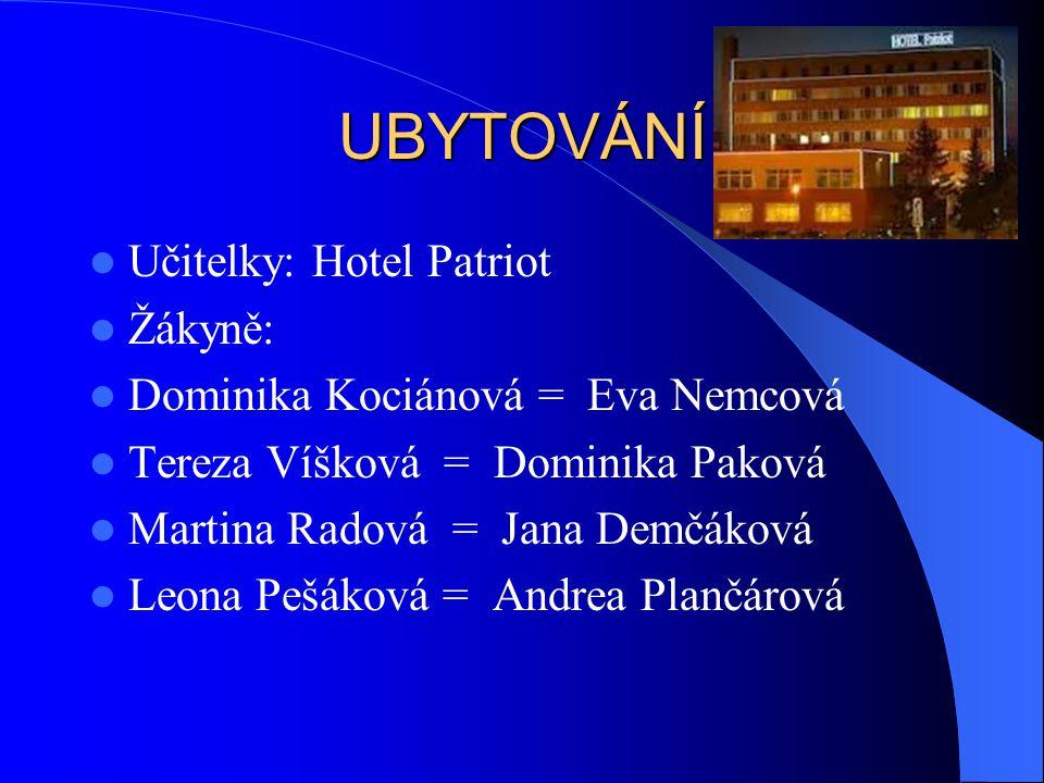 UBYTOVÁNÍ Učitelky: Hotel Patriot Žákyně: